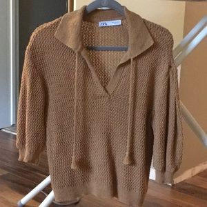 Zara Textured sweater w/ balloon sleeves M Honey